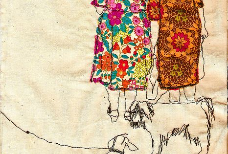 Embroidered illustration by Sarah by SewSarahWalton... Cool way to combine the look