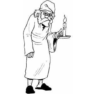 Scrooge With Candle Christmas Carol Christmas Coloring Pages