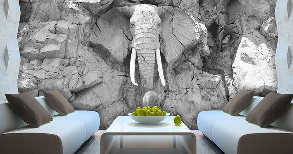 Details Zu Vlies Fototapete Tapete Foto Bild Elefant Grau Wand ... Graue Wand Und Stein