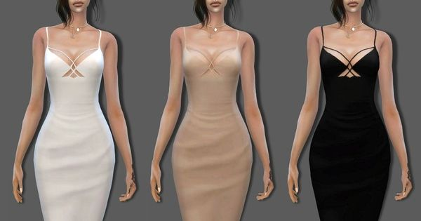 The Sims Resource: Strappy Midi Dress by BillSims • Sims 4 ... The Sims Resource