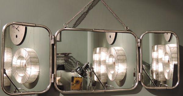 Miroir tryptique de barbier en m tal avec patine nickel for Miroir atelier chehoma