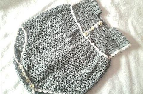 Diy como tejer saquito sueter chaqueta chambrita para bebe en crochet ganchillo 3 4 - Tejer chaqueta bebe 6 meses ...