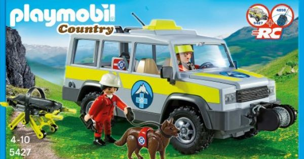 Amazon Com Playmobil 5427 Mountain Rescue Truck With Cable Winch And Tow Bar Toys Games Trucks Playmobil Playset