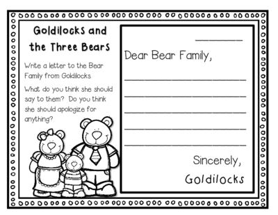 Goldilocks And The Three Bears Response Journal For K 2 From Red Apple Teacher On Goldilocks And The Three Bears Fairy Tales Kindergarten Big Book Activities