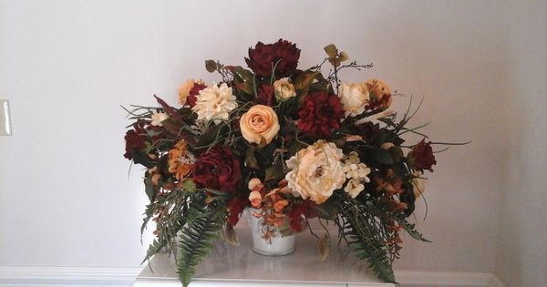 Floral arrangement large silk centerpiece tuscan