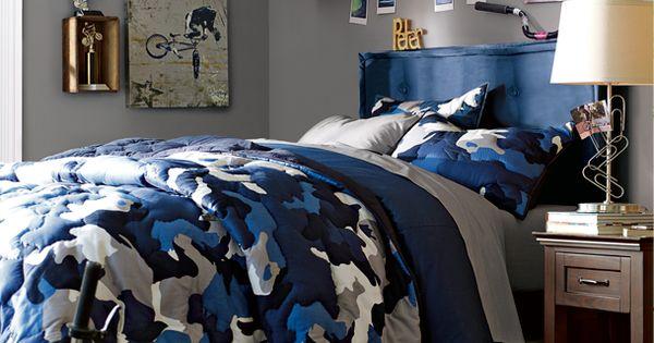 Camo bedrooms boys blue bedrooms pbteen boys for Camouflage boys bedroom ideas