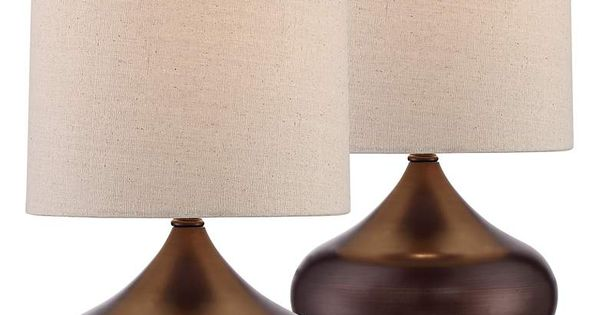 Steel Droplet 14 3 4 H Brown Small Accent Lamps Set Of 2 1n508 Lamps Plus Modern Accent Tables Mid Century Modern Accent Table Modern Table Lamp