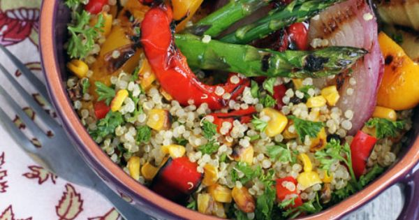 Grilled Vegetable Quinoa Salad glutenfree vegan gluten free RecipeSerendipity recipe food cooking