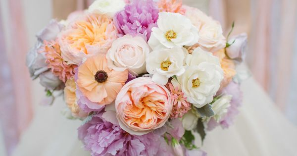 spectacular peach and lavender bouquet featuring peonies, poppies and roses by Petals