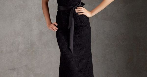 Boat Neck Black Lace Trumpet Floor Length V-back Bridesmaid Dress with Cap