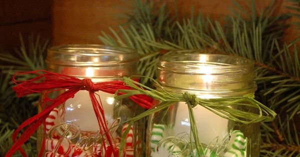 Candy filled jar Candles for your Winter and Christmas Decor. $16.00, via