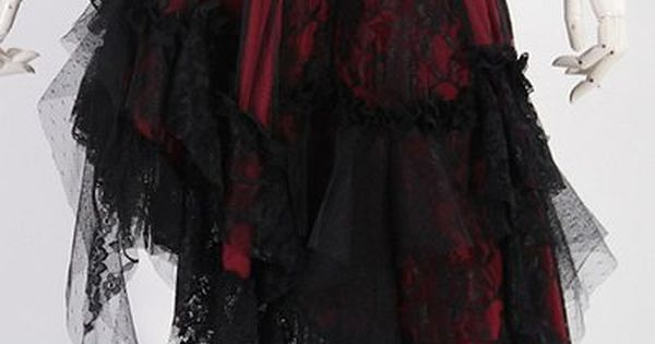 RED Black Lace Asymmetical Skirt by RQBL | Ladies Gothic (Would have