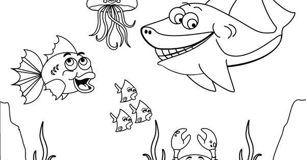 kleurplaat zeedieren school thema onderwater