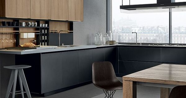Poliform kitchen anodized aluminium base units pearl for Varenna cuisine