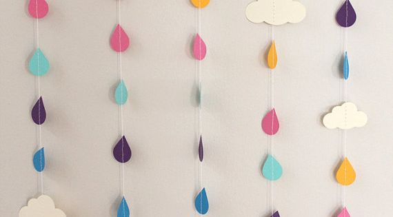 Rainbow Raindrops and Clouds Paper Garland - April Showers, Baby Showers, party