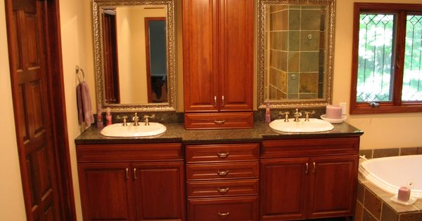 Double Vanity With Upper Linen Cabinet In The Middle For The Girls 39 Bathroom Bathroom Design