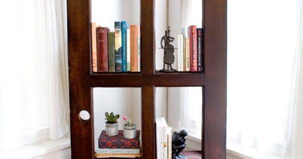Do It Yourself Bookshelf Ideas: Vintage Door Repurposed Bookshelf By TheDoorShelfFactory