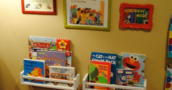 ooh, spice racks for bookshelves. also, framed book covers// Ideas for the