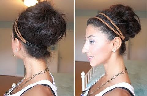 SUMMER Hair bun and head band up do! so simple and cute.