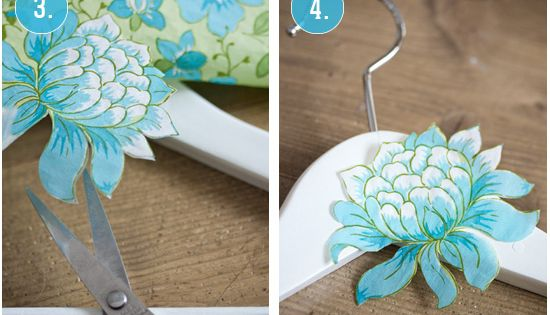 Decoupaged clothes hangers - so not necessary, but they're preeetty. diy craft