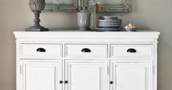 buffet en bois de paulownia blanc l 131 cm design d coration living room pinterest buffet. Black Bedroom Furniture Sets. Home Design Ideas