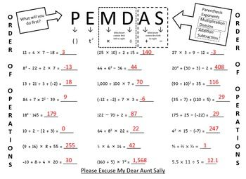 Pemdas Order Of Operations Practice Problems Order Of Operations Pemdas Pemdas Worksheets