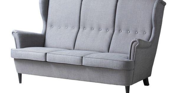 Ikea strandmon 3 sits soffa den h ga ryggen ger bra for Fauteuil bras tablette ikea