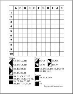 Coloring Grids With Directions Sketch Coloring Page Map Skills