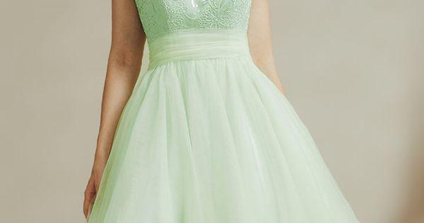 robe de soiree delicate de couleur vert pastel en tulle With robe vert pastel