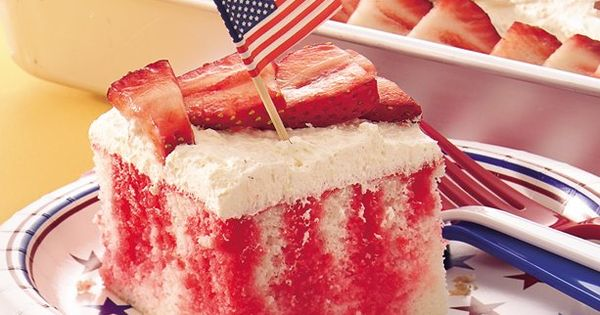 Red, White and Blue Poke Cake 4thofJuly