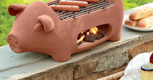 Terra Cotta Pig Shaped Hibachi Style Grill Plow And
