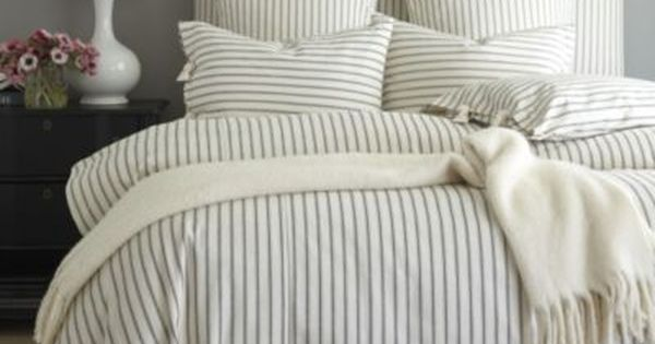 Ticking Stripe Duvet Black Ballard Designs Camden