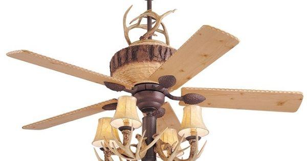 A Great Lodge 52 Quot Ceiling Fan W 4lt Antler Light Kit