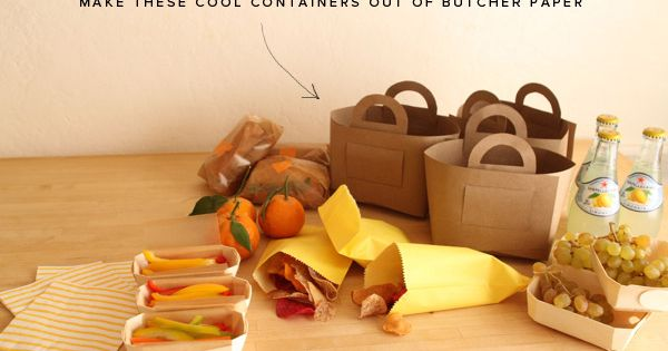 DIY Picnic baskets - made from butcher paper or paper bags.