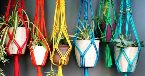 Macrame plant hangers macram hanger plants - Colgadores de macetas ...