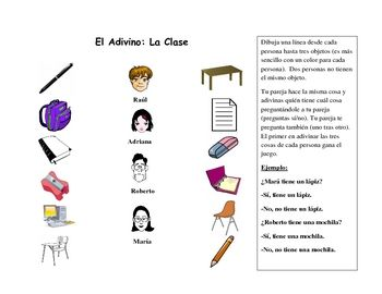 Spanish Speaking Activity With Classroom Vocabulary French