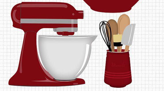 Kitchen Baking Clip Art Set Mixer Utensils And Bowl By