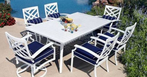 7pc Aluminum Outdoor Dining Table & Chairs White Patio