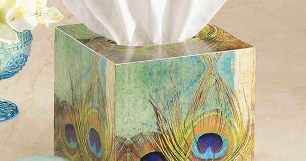 Peacock Feather Tissue Box Stylish Home Accents And