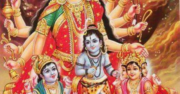 Durga with Baby Vishnu,Shiv,Brahmha | Hindu god B | Pinterest