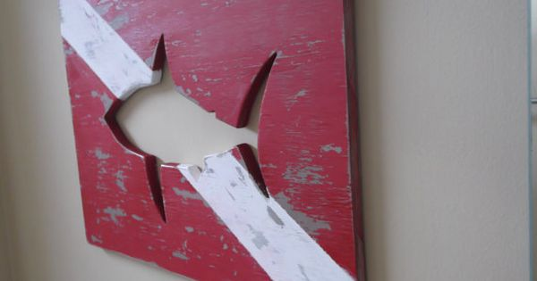 Wood Diver Down Sign with Shark cut out by ...