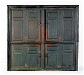 18th Century Antique Hudson Valley Cupboard Original Green Paint Southern Furniture Primitive Furniture Raised Panel Doors
