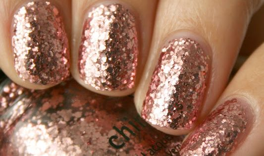 Rose gold nails. Great for a Holiday Party! Nail polish is China