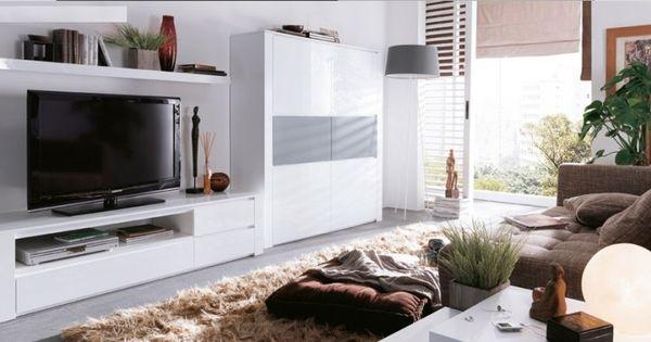 Mueble de sal n blanco con vitrinas salones pinterest - Vitrinas de salon ...