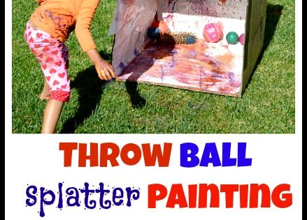 Active way to paint a cardboard box. Great outdoor activity for the