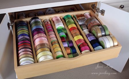 Ribbon Storage Use A Shallow Drawer Or Container And Divide With