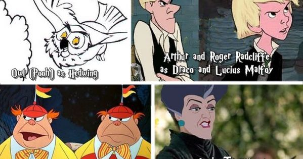 If Disney cartoon characters were in Harry Potter. OH LAWWD! MY FANDOM WAS NOT PREPARED FOR THIS