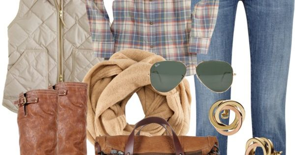 Great fall outfit - flannel, casual vest, skinnies, brown boots, scarf... cute