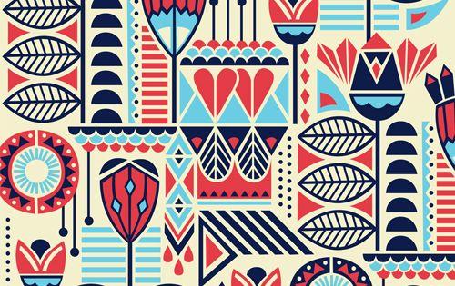Bel Andrade Lima pattern print seamless fabric illustration wallpaper flower floral folk