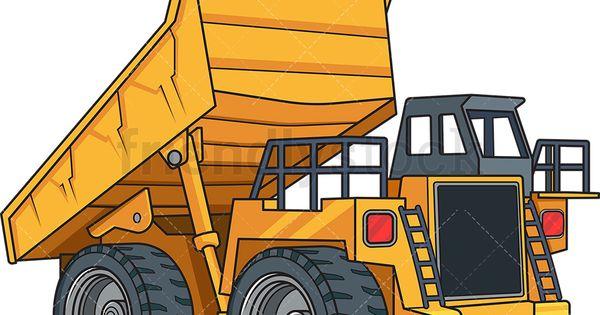 Realistic Dump Truck Cartoon Vector Clipart Friendlystock Dump Trucks Dump Truck Trucks